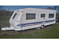 2005 Hobby Excelsior Caravan with walnut table/leather suite