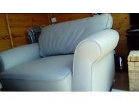 Next settee ( cuddle chair ) quality leather, few months old, taupe,cost nearly £1000