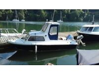 BOAT FOR SALE - 16 Foot GRP Fiberglass Boat With A Cabin + 40HP + 5HP Outboards + A Flying Bridge