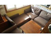 John LewisModern Chocolate Brown Large 2 Seat Sofa, Chaise & Arm Chair