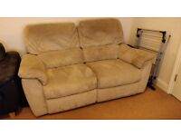 Two Seater Beige Suede Effect Style Recliner Sofa