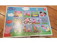 12 in 1 Peppa Pig puzzles, like new