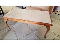 Retro Oak Coffee Table with Cream Top in Excellent Condition