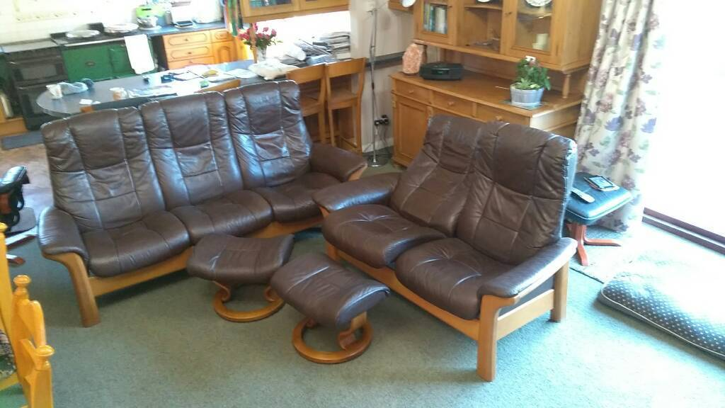 Ekornes Stressless reclining brown leather sofas