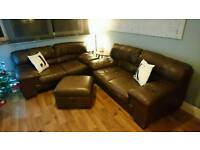 Leather Sofas x 2 and Storage Pouffe