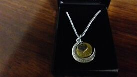 "18"" silver necklace love you to the moon and back"