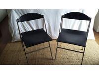 Poltrona Frau Donald chairs x 2. Polished aluminium frame in black leather