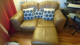 Leather 2 seater sofa and pouffe