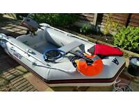 Inflatable dinghy with engine