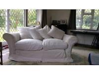 White 2 seater & 3 seater DFS Sofas