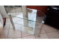 TV/Video Stand Silver legs 3 tiers. Sturdy and great condition