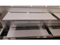 Solid shelves with brackets for slat wall shelving
