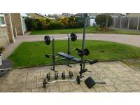 Weight bench and 100kg weights
