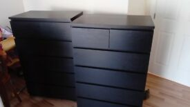 Chest and drawers black good condition