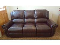 Salisbury Bonded Leather Home Lounge Recliner Sofa 3 seater Dark Brown