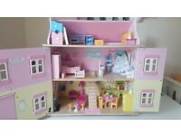 Le Toy Van Sophie's dolls house, with full furniture set, dolls and car - Very good condition