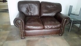 2 x small brown chesterfield sofas