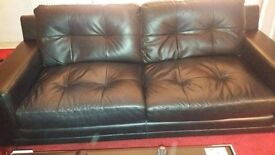 Dfs Black leather 3 and 2 seater plus arm chair