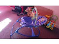 Baby to toddler rocking chair with calming vibration and toys