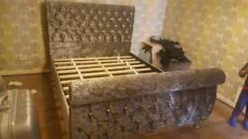 Double crush velvet bed for sale