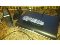 Sky+ HD box, remote control, router and wireless connector.