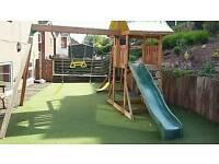 Wooden swing/slide and monkey bars