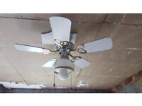 white ceiling light fan