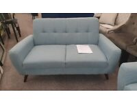 Monza 2 Seater blue linen fabric Sofa Can Deliver