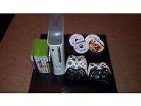 Xbox 360 Elite White + 120 Gb Hard Drive + 9 Original games + 5 Controllers+Cables