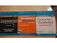3 x Cambridge Advance English Books. Examination papers, Grammar and Vocabulary.