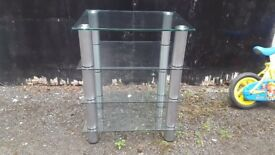 4 tier Glass with brushed metal silver legs