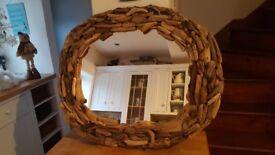 Gorfeoys oval habdmade driftwood mirrir