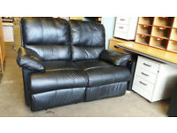 Black leather reclining 2 seater sofa