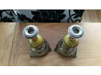 Candle holders marble look brass