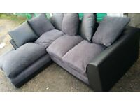 Leather and fabric corner sofa. Delivery.