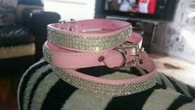 Two pink diamanté collars and lead set