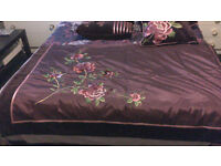 Plum colour Satin and Velour Bed throw and 4 matching cushions