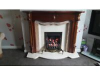 Gas fire with marble & solid wood surround