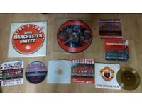 9 x manchester united vinyls , picture discs / flexi disc