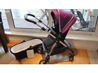 Purple silver cross Wayfarer pram and buggy Set As good as new only used a second pram
