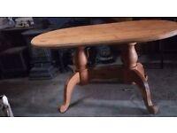 Antique solid pine pedestal farmhouse table