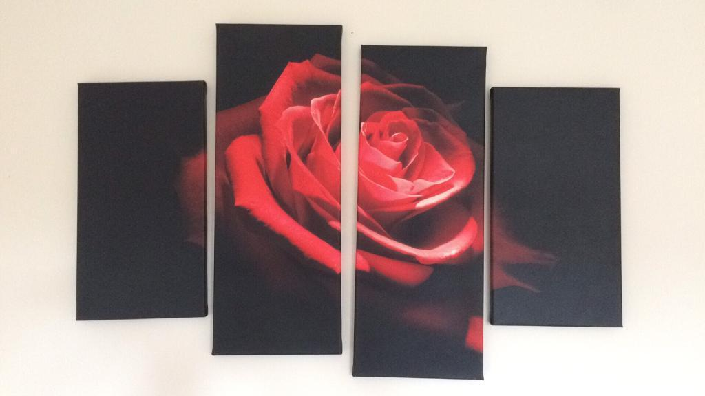 4 piece rose canvas picture