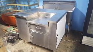 Cash register stainless steel table with drawers