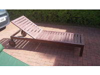 Solid Wooden Single Sunlounger