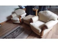 Top of the range armchair set and footstool