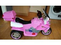 Electric ride on PINK kids toy tricycle car in good condition. £50.00