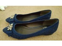 Ladies navy flat court shoes