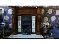 fireplace surround with cast iron insert
