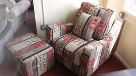 New fabric armchair with opening footstool ONLY £200
