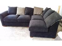 Black fabric Corner Sofa sofabed with footstool Free Local Delivery